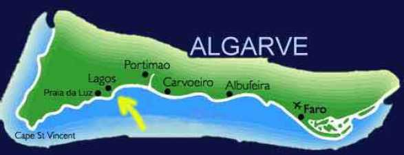 Map of the Western Algarve Portugal