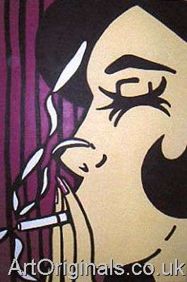 Paintings of lips and faces